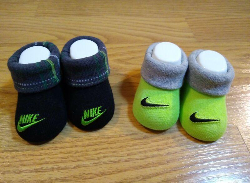 NIKE Booties 0-6 Months Socks Green Gray Black Baby Infant Boys Girl Swoosh NEW