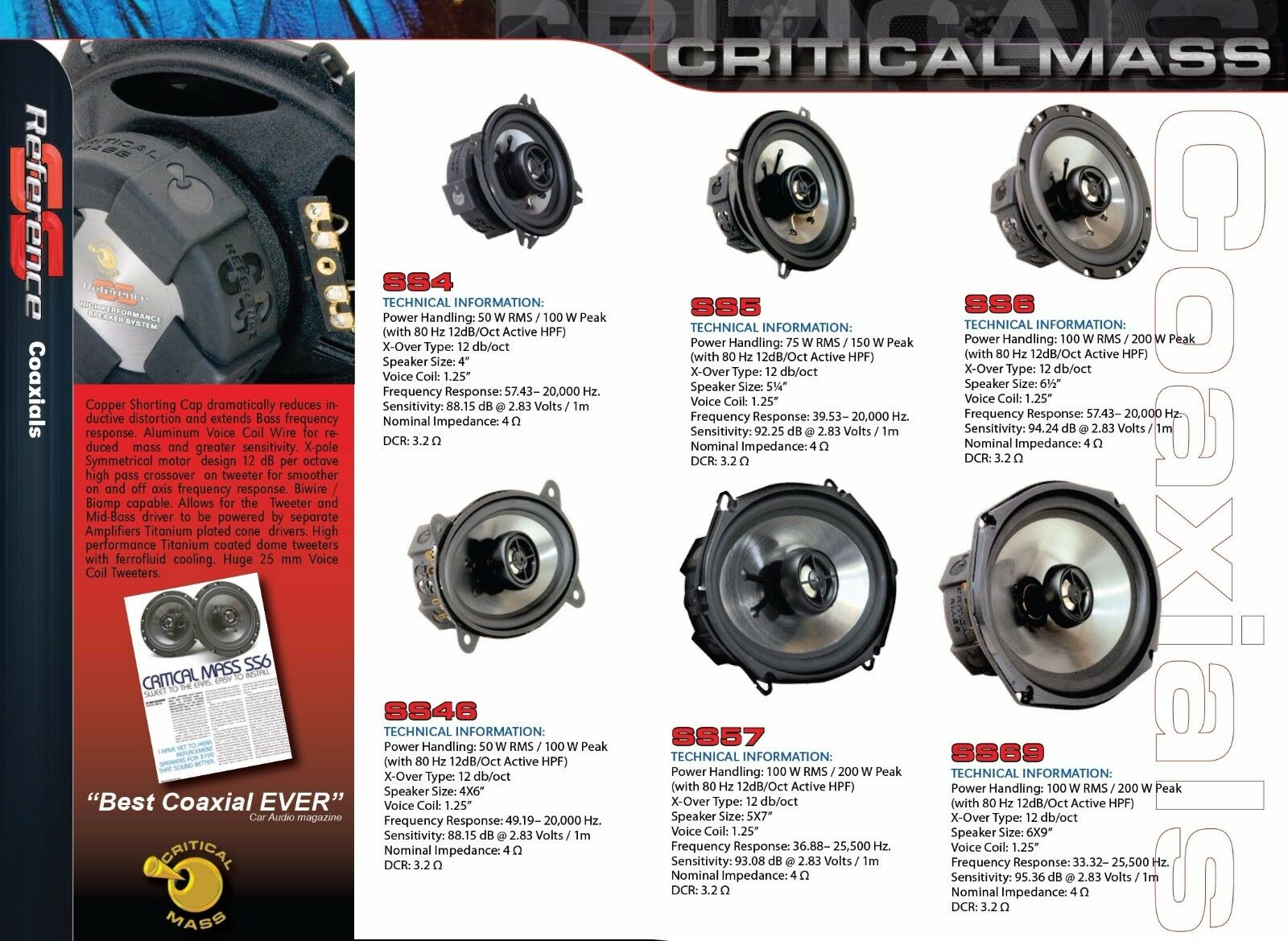 CRITICAL MASS AUDIO SS57 SPEAKERS 6x8 UL12 BEST MADE IN THE USA BEST 2 WAY SOUND