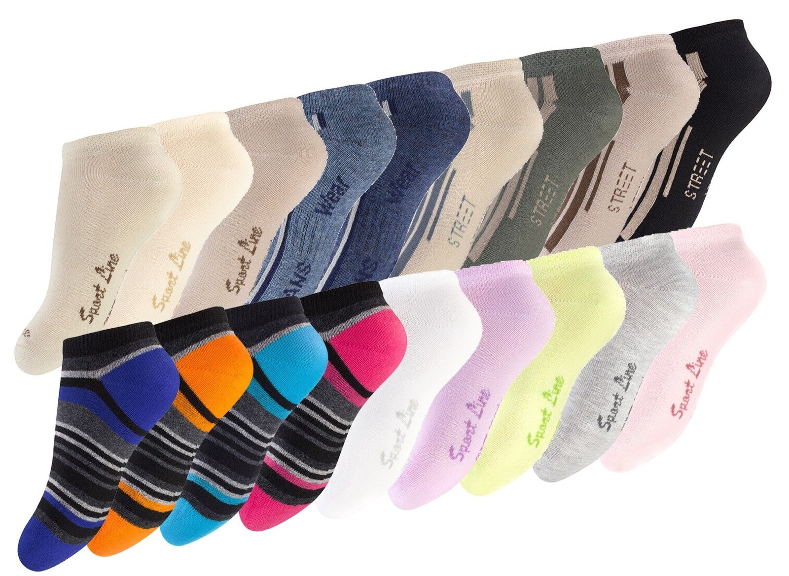 8 Paar Kinder Sneaker Socken Kurzsocken Kids Strümpfe Füßlinge Trendige Farben