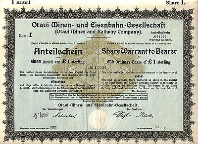 LOT OF 10 RARE GERMAN COLONIAL SOUTH WEST AFRICA MINING & RAILROAD BONDS w FOLDS
