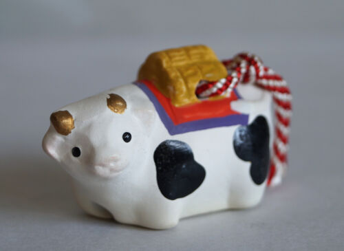 1 inch Japanese Old Clay Bell Dorei : design Cow