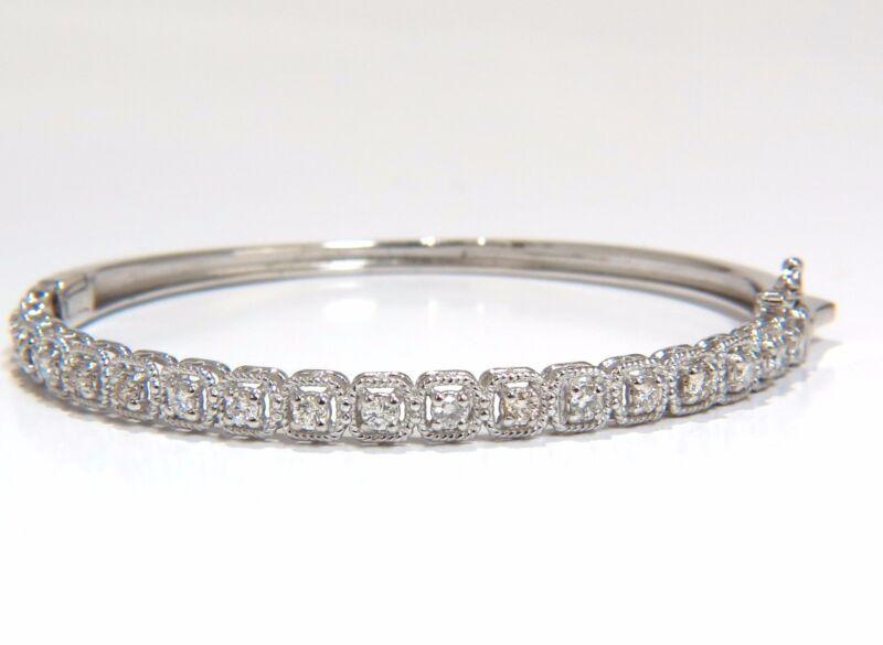 .90ct Squared Rope Twist Encase Natural Diamonds Bangle Bracelet 14kt+