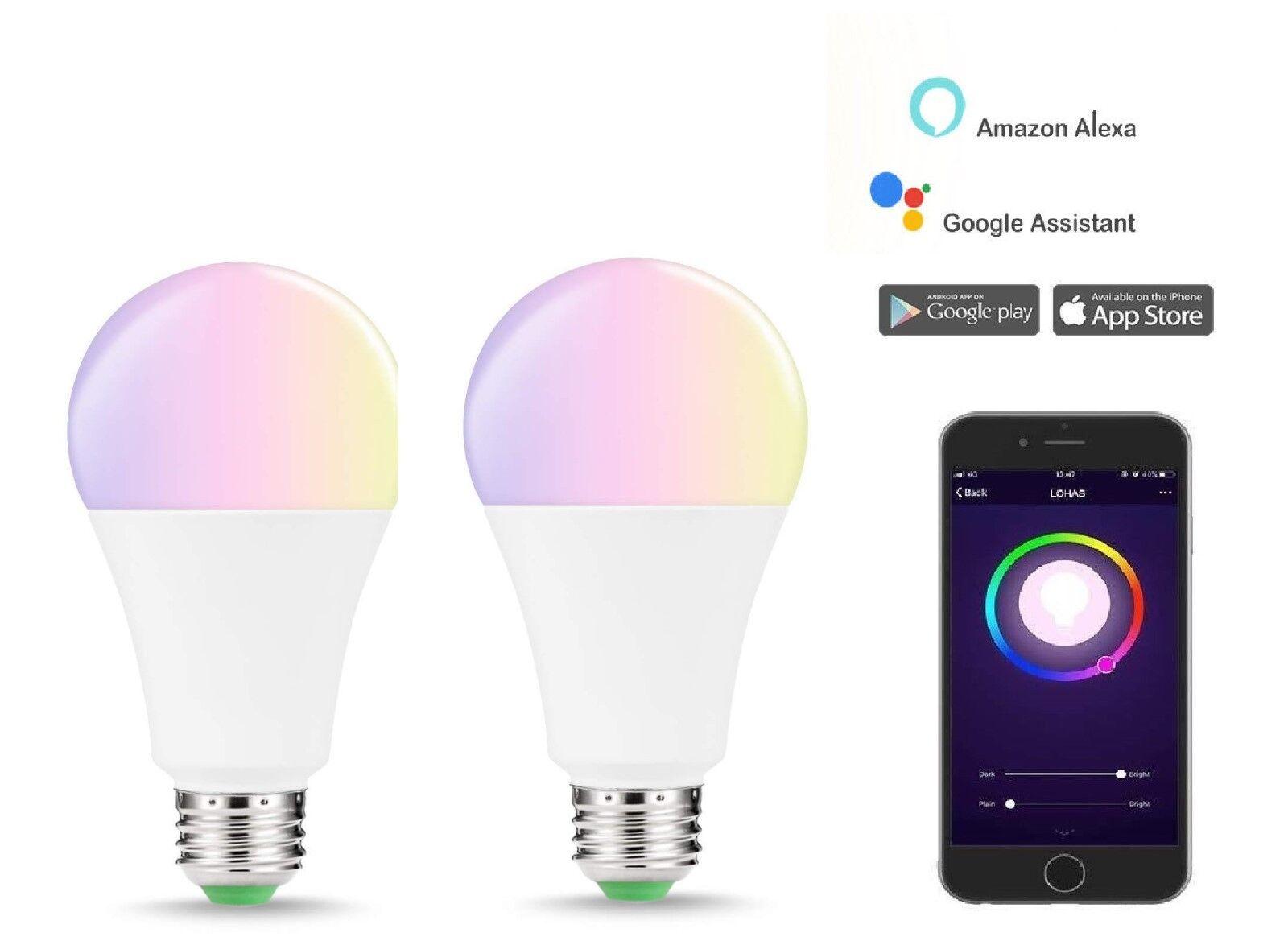E27 Dimmable Wifi Smart Life RGB LED Light Bulbs For Alexa /& Google Assistant yh
