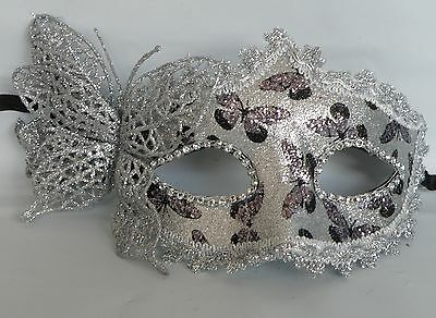 asquerade Party Face Mask - Black and Silver - *NEW*  (Black Butterfly Mask)