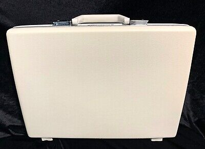 Vintage Samsonite Hard Shell Briefcase Attaché Off White with Floral Liner 17X12