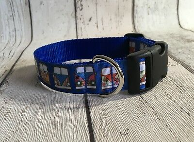 Camper Van Blue Background Dog Collar Unique Funky Pet Supply Gift Xmas Handmade ()