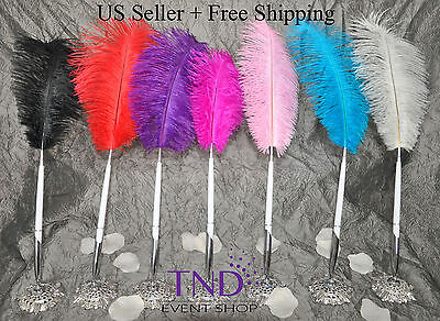 OSTRICH FEATHER PLUME PEN SET WEDDING RECEPTION ...