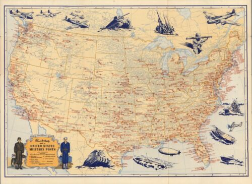 1944 Rand McNally Map of United States Military Posts POSTER 6783003