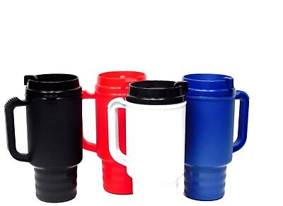 4 Coffee Cup Travel Mugs 1 ea 4 Colors Air Insulated Holds 18 Ounces Mfg in USA* (Coffee Mugs In Bulk)
