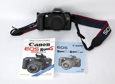 Canon Rebel G 35mm Film AF Camera Body Only, EOS EF Mount  W/Strap and books