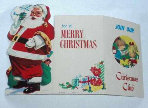 Cute Vintage 1950s Christmas Santa Club Savings Bank Card 3 Side