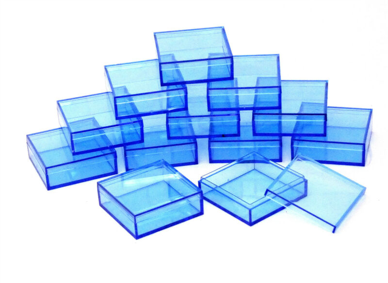 2 By 2 Inch Square Blue Acrylic Bead/Gem Storage Boxes 12 QTY