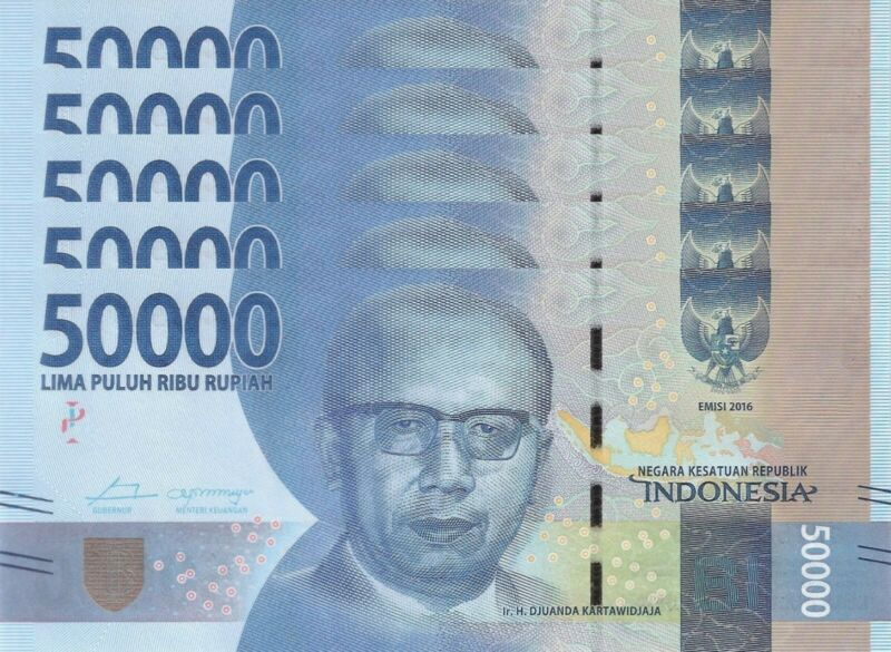 LOT, Indonesia 50000 Rupiah (2016) p159 x 5 PCS UNC