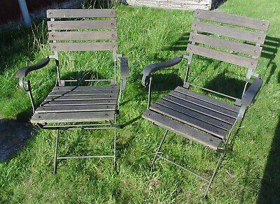 (#555) 2 metal old garden folding chairs chair (Pick up only)