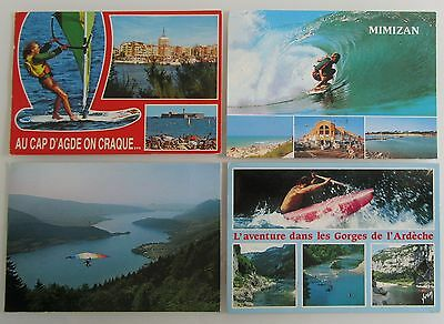 4x Frankreich Postkarte Motive Surfer Windsurfing Kanu Segelflug Sport Lot