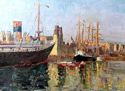IM HAFEN VON BARCELONA - Kunstdruck nach Johannes MARX (1866-1937)