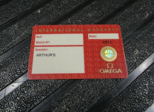 Open Red OMEGA International Warranty Certificate Card Watch Jeweler Name & Code