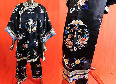 Antique Chinese Black Silk Peony Butterfly Embroidery Pajama Palazzo Pant Robe Chinese Silk Pants