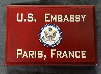 "U.S. Embassy Paris, France Cherry Wood Beveled Edge 4""X6""X.75"" Sign MADE IN USA"