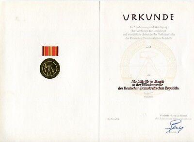 (LRG DDR East German Blank Medal Document Merit Peoples Control Workers 3 III NOS)