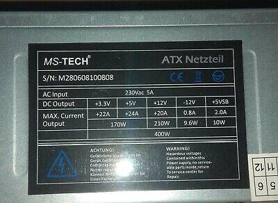 MS-TECH ATX Netzteil  400W Silber