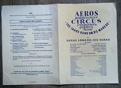 Prospekt Aeros Circus 150 Jahre rund um die Manege Duxas London Eis Schau 1957  London-eis