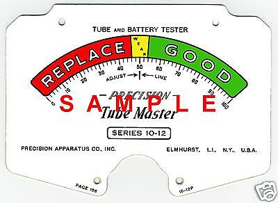 Precision 10-12 Tube Tester Meter Scale Digitally Remastered