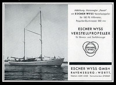 Grosse Werbung 1960 Motorsegler PASSAT Verstellpropeller Escher Wyss Ravensburg