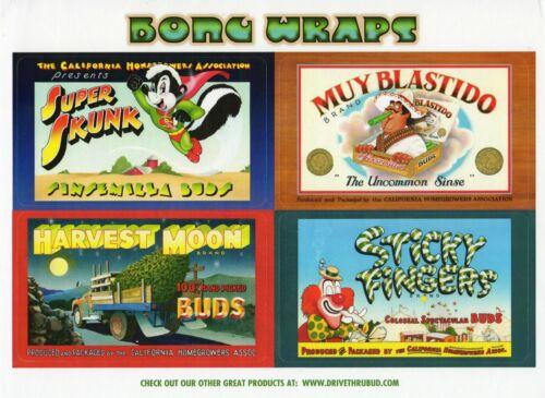 Bong-Wraps Cannabis Decal Set (Qty 8) Pot Crate Labels Pat Ryan Art Classic 420