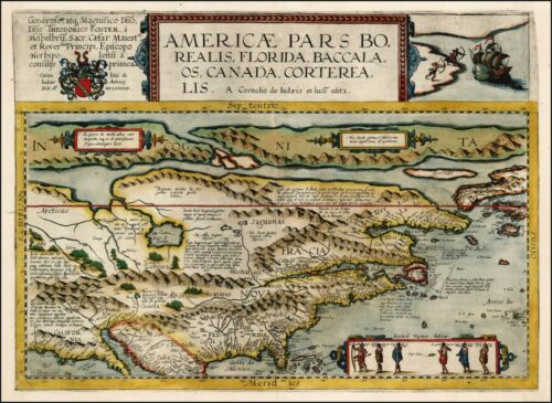 1593 Map North America Florida Canada Carolina New England POSTER 25688ll