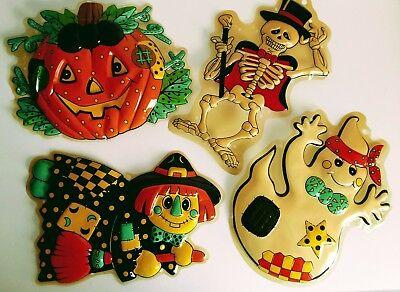 4 Vintage Halloween Plastic 3D Wall Decorations Decor Skeleton Witch Ghost - Vintage Halloween Decorations Plastic