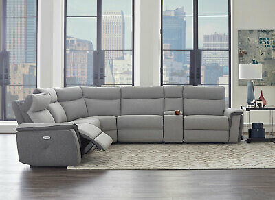 NEW Sofa Sectional Gray Fabric Electric Reclining Living Room Furniture Set IF5K