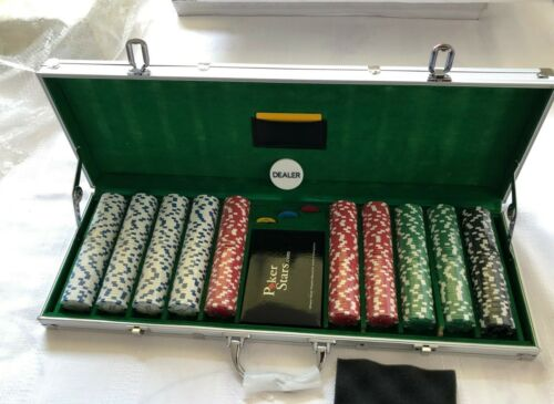 PokerStars Branded Official Casino 500 pcs Poker Set w/ Aluminum Case Cards New