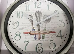 Plastic Wall Clock, approx. 11.5, UTENSILS, BLESS THE HOME, Mainstays