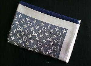 NEW Authentic LOUIS VUITTON Monogram LV Denim Blue Silk Wool Shawl Scarf M71376