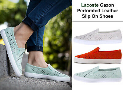 Lacoste Womens Shoes Gazon Slip On Shoes Perforated Leather Casual Sneaker NEW Lacoste Womens Slip