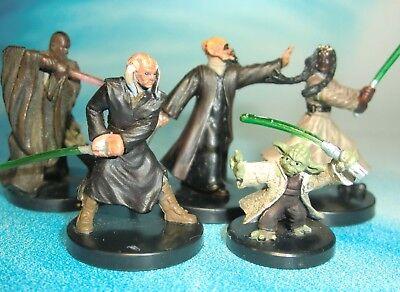 Star Wars Miniatures Lot  Yoda Jedi Master Plo Koon Agen Kolar !!  s97