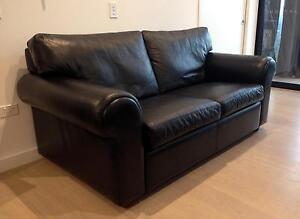Moran Madison 2.5 Seat Sofa - Ebony Black Leather Crows Nest North Sydney Area Preview