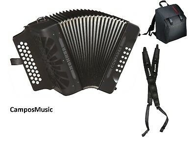 Hohner Compadre BLACK  EAD  / MI  Accordion  Acordeon w/Gig Bag