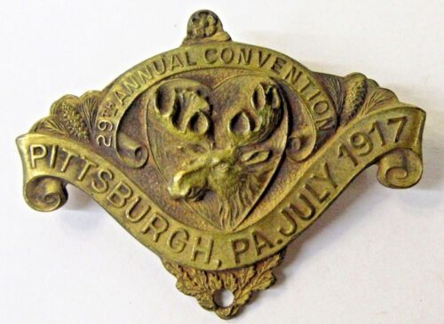 1917 MOOSE 29th ANNUAL Convention PITTSBURGH PA Fraternal pinback badge +