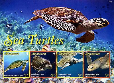MONTSERRAT 2016 MNH SEA TURTLES 4V M/S GREEN RIDLEY SEA TURTLE REPTILES STAMPS