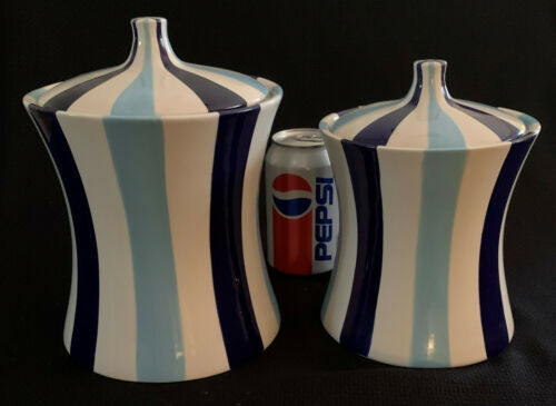 Jonathan Adler Happy Home Blue Stripes 2 Canisters