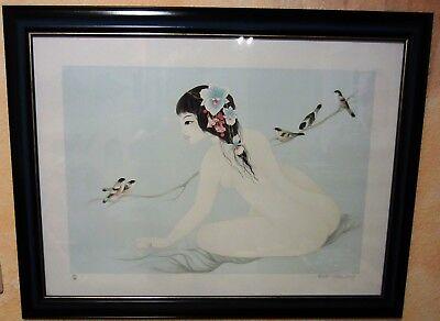 tran long mara : Geisha, die Vögel Lithographie unterzeichnet und nummeriert