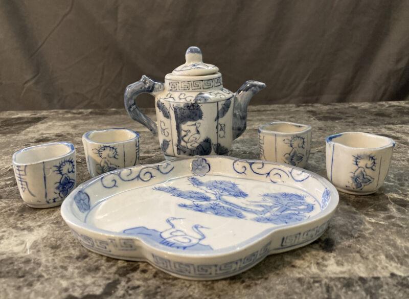 Chinese Miniature Blue Ceramic Tea Set 6 Pieces