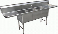 3 Compartment Stainless Steel Sink 15x15 2 Drainboard