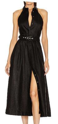Zimmermann Bonita Linen Dress Black Size 2 NWT