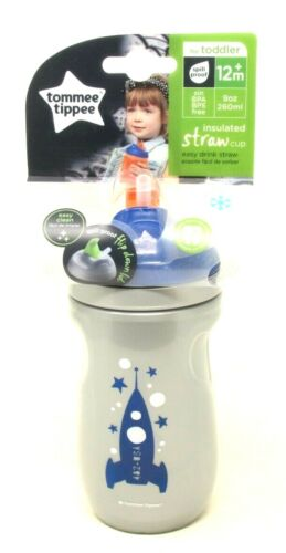Tommee Tippee Insulated Straw Sippy Cup 9 oz Toddler 12+ Month Gray BPA Free