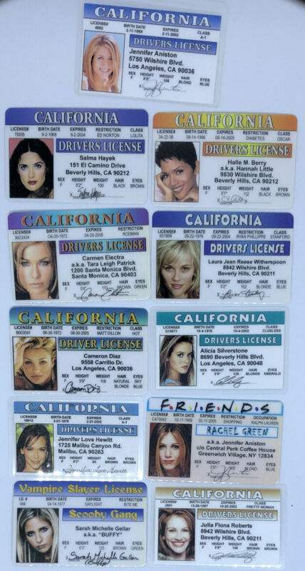 Vtg 1990s Actress Movie Star Celebrity Novelty Drivers License ID Card Souvenir