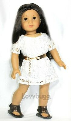"Lovvbugg Indie White Lace Dress for 18"" American Girl Doll Clothes"