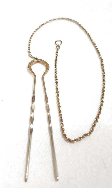 Antique 10K Gold Hairpin & Chain For Pince Nez Eyeglasses